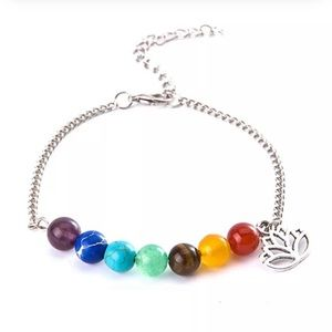 Jewelry - 7 Chakra Healing Anklet with Lotus Pendant